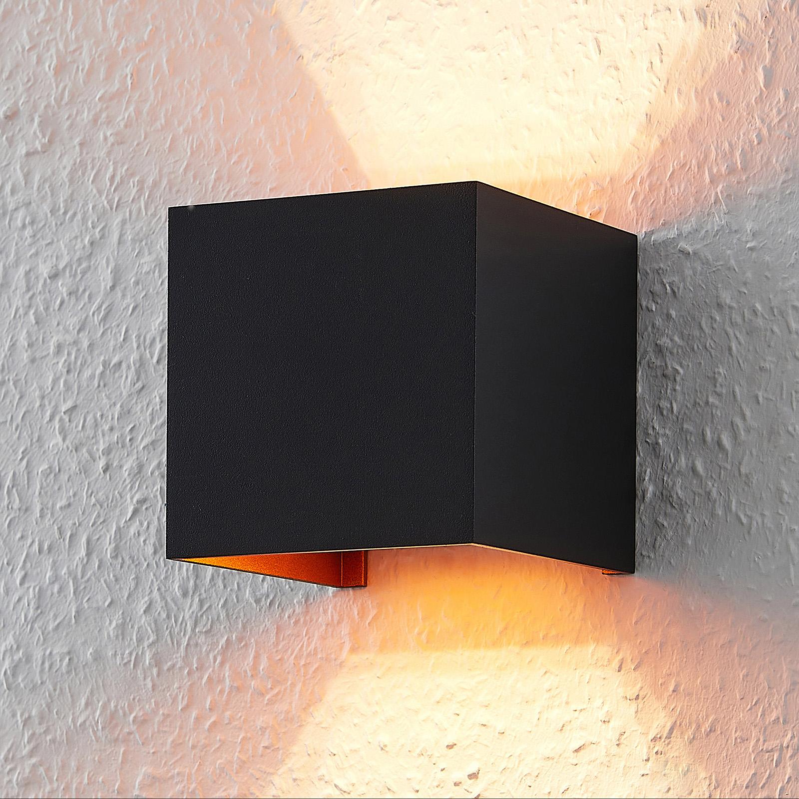 Eckige LED Wandlampe m. G9 Lampe, schwarz golden
