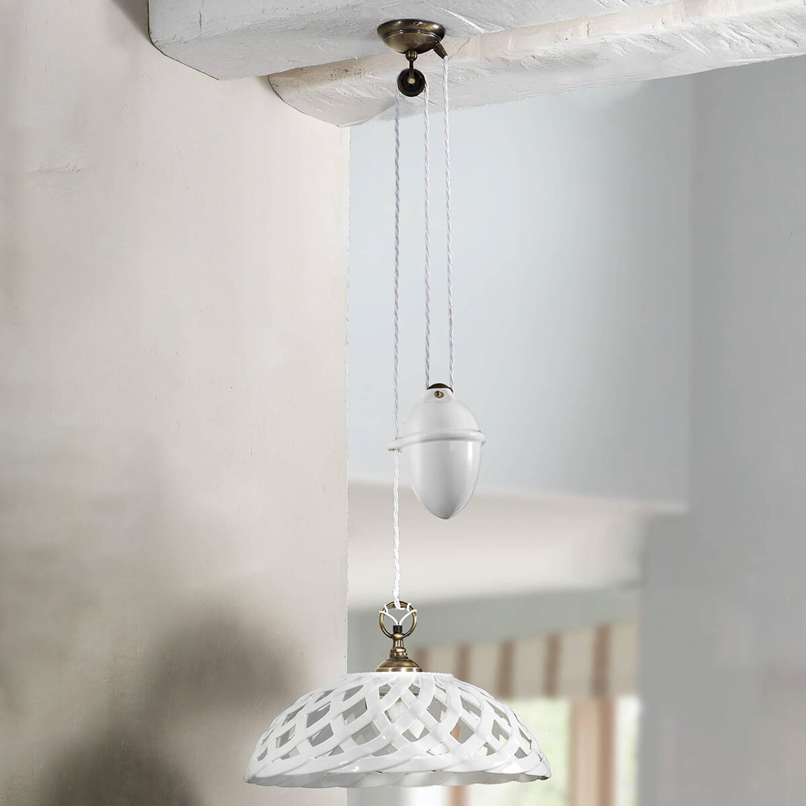 Regulowana lampa wisząca Emanuel z ceramiki