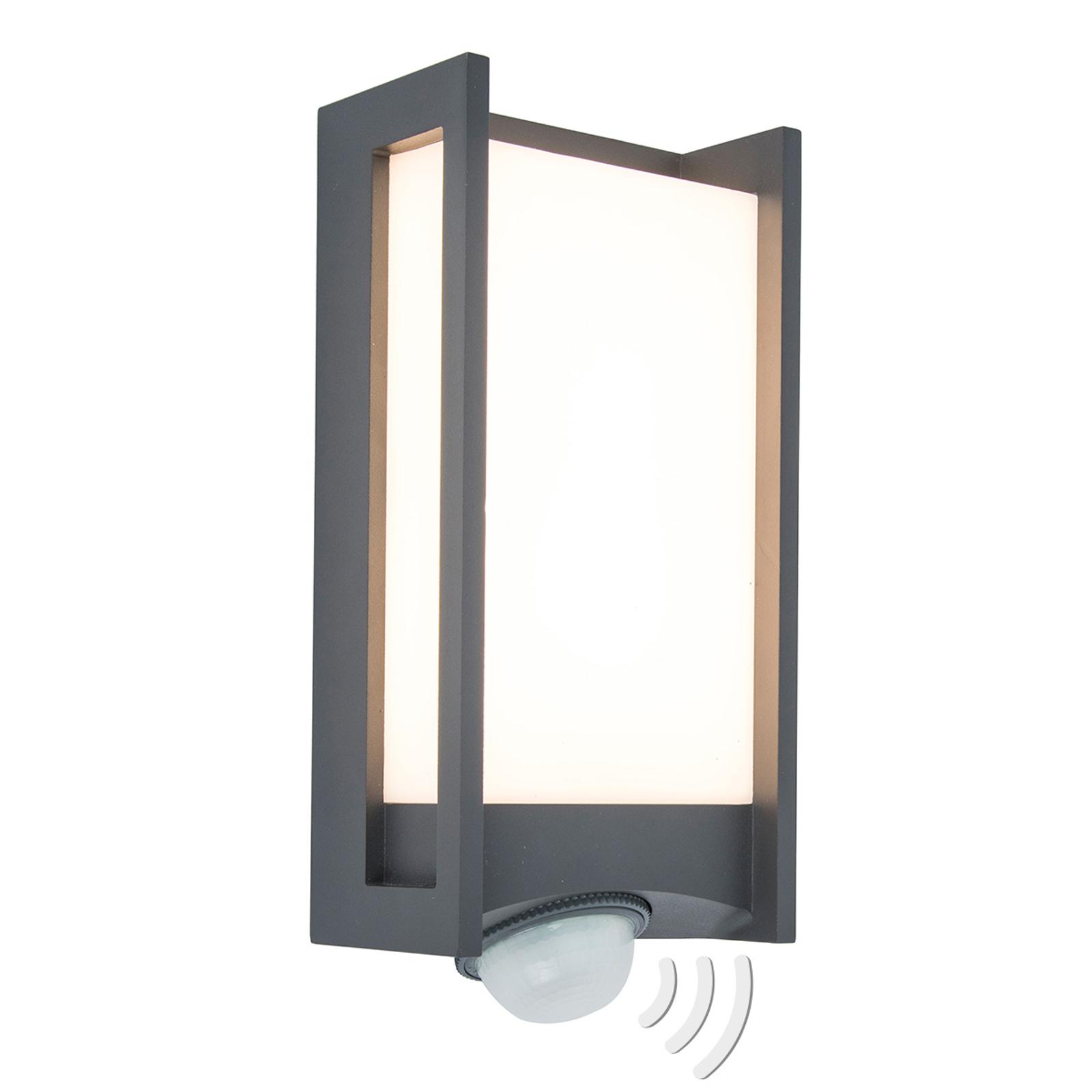 LED-Außenwandleuchte Qubo mit Bewegungsmelder