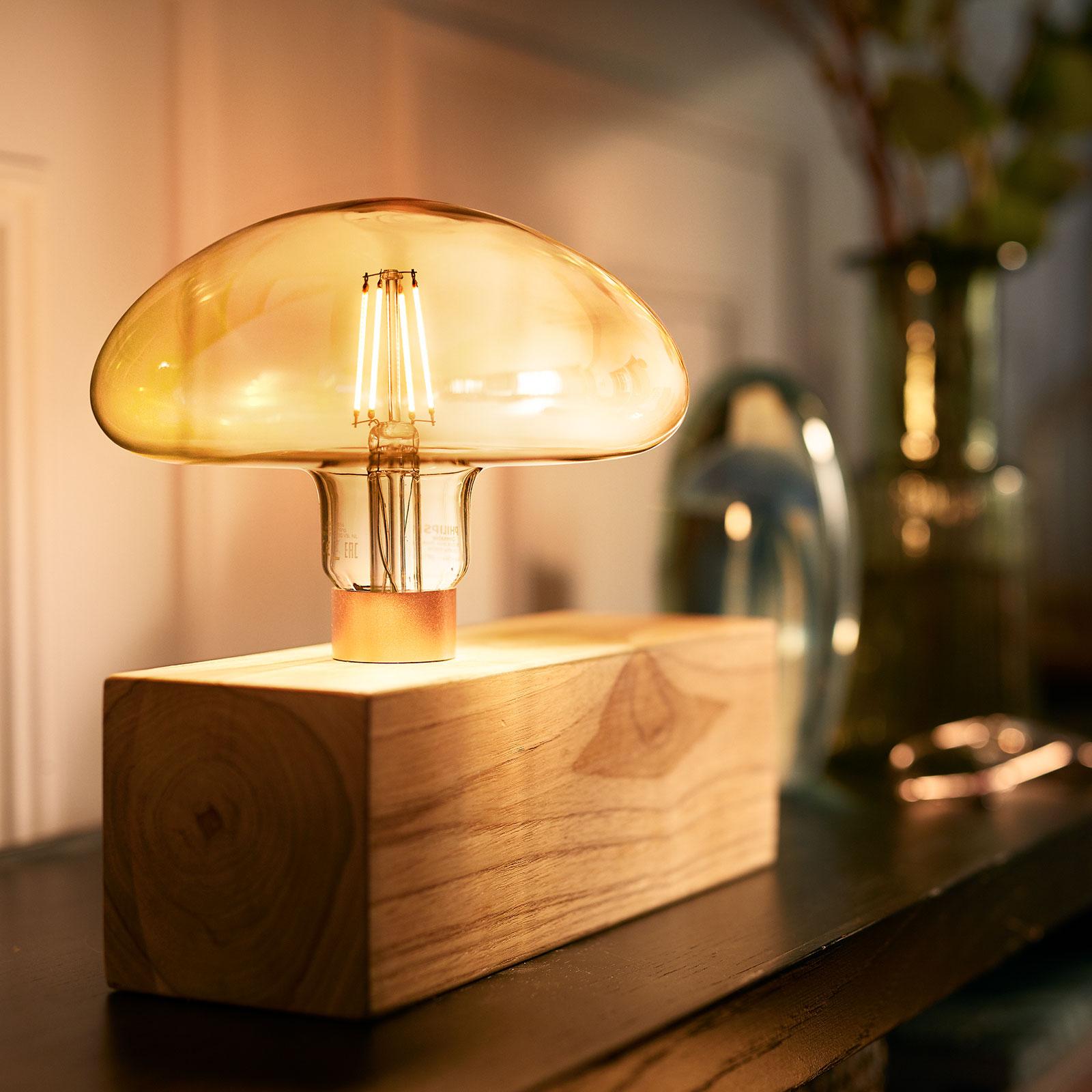 Philips Classic Mushroom guld LED lampa E27 5W | Lamp24.se