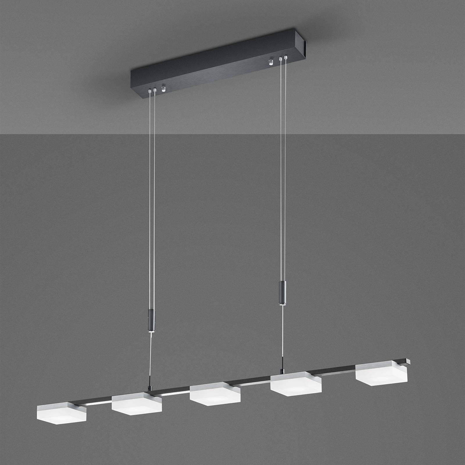 Bopp Quad lampa wisząca LED 5-pkt czarna/aluminium