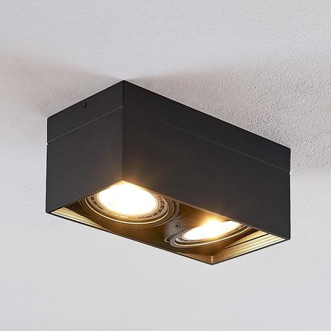 Spot pour plafond LED Michonne noir, 2lampes