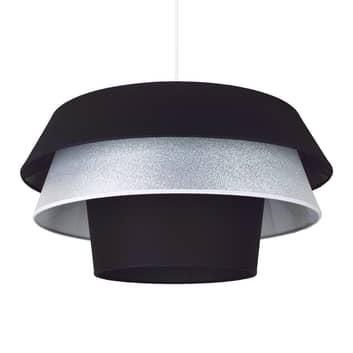 Tekstylna lampa wisząca Lotos, czarna/ srebrna
