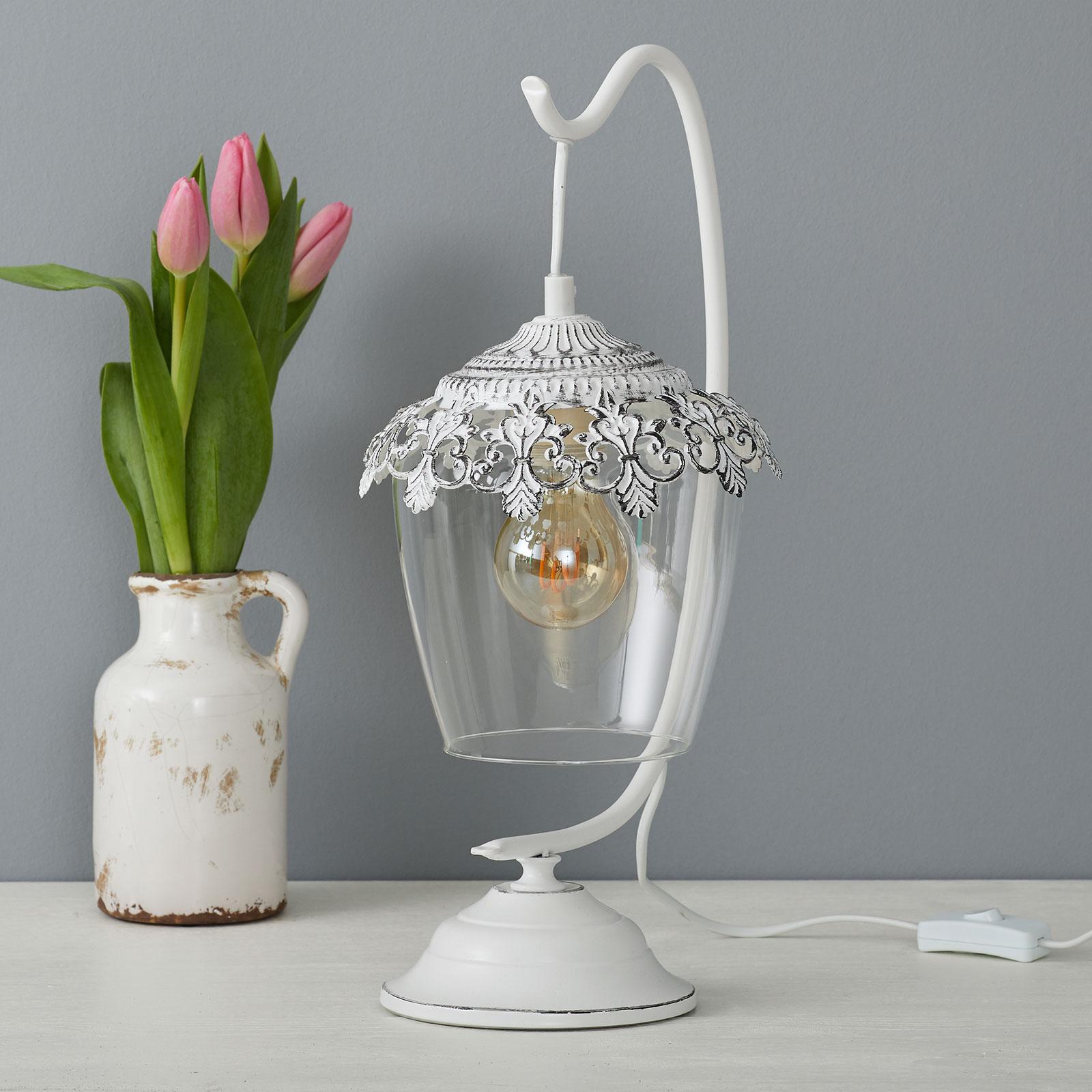 Wit gepatineerde tafellamp Florinia