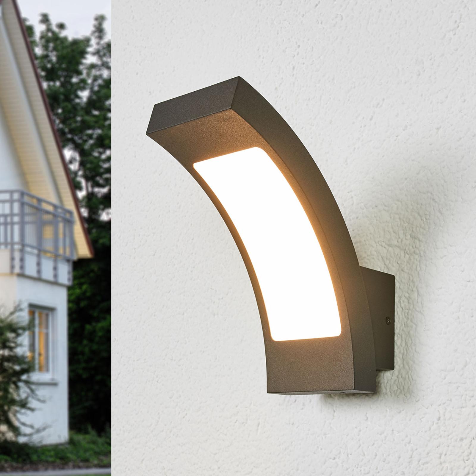 Grafitgraue LED-Außenwandlampe Juvia, IP54