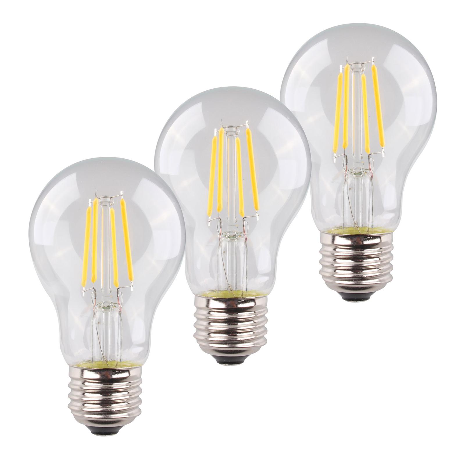 E27 4 W LED-pære filament 2700K 3er sett 470lm