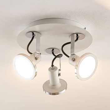 Lindby Theda LED-takrondell, vit, 3 lampor