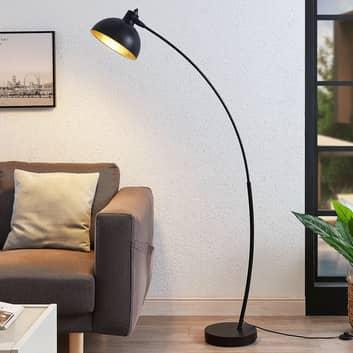Boogvloerlamp Phileas in zwart en goud