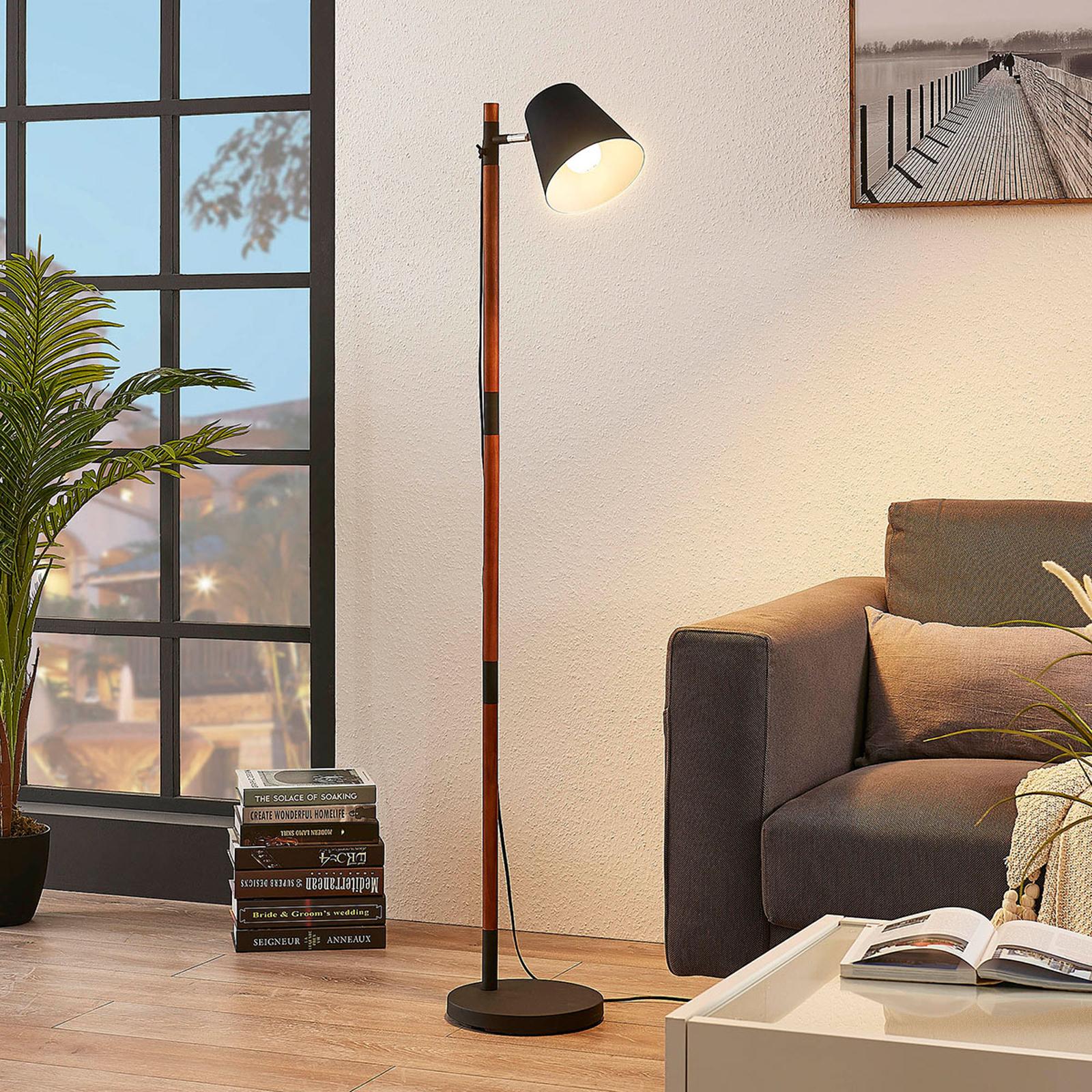 Lampadaire Birte, noir avec élément en bois