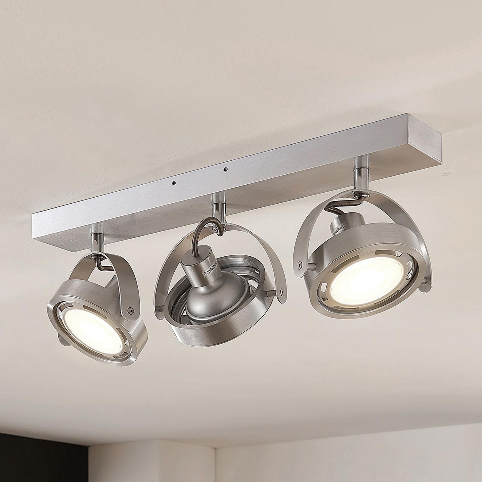 Spot LED Munin, dimmable, aluminium, 3 lampes