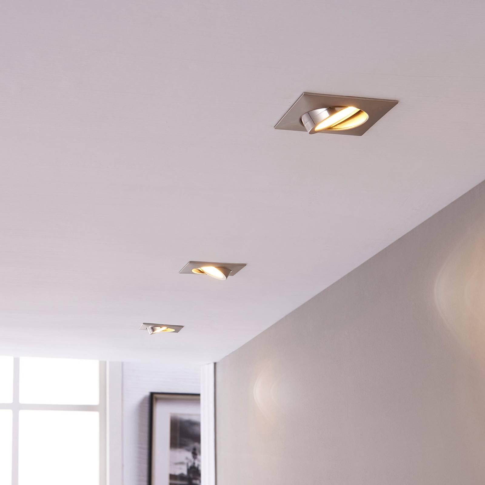 LED inbouwspot Andrej, hoekig, nikkel, 3set