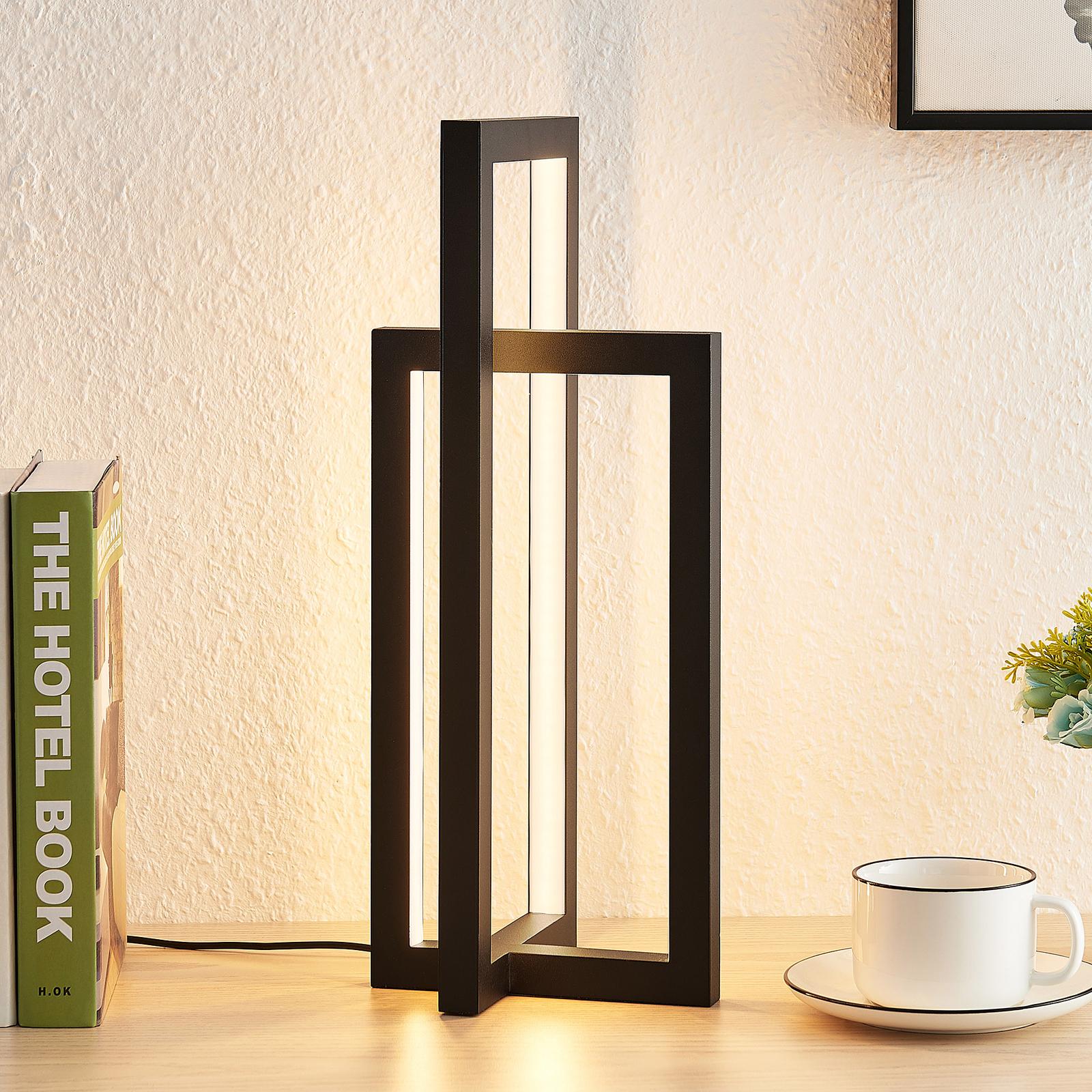 Lucande Hylda lámpara de mesa LED en negro