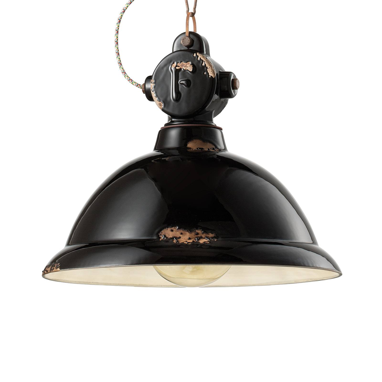 Hängeleuchte C1710 aus Keramik, schwarz