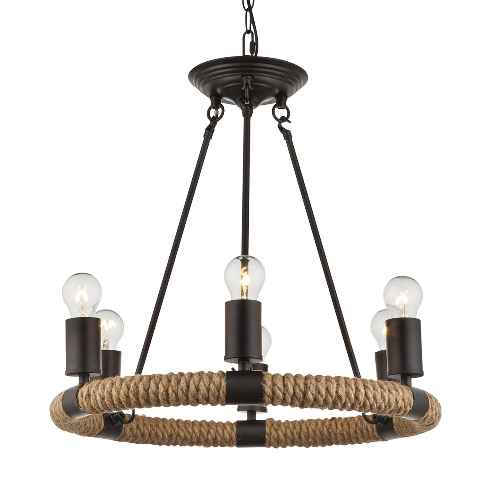 Runde LED-Pendellampe Ulleu mit Hanfseil 6-flg.