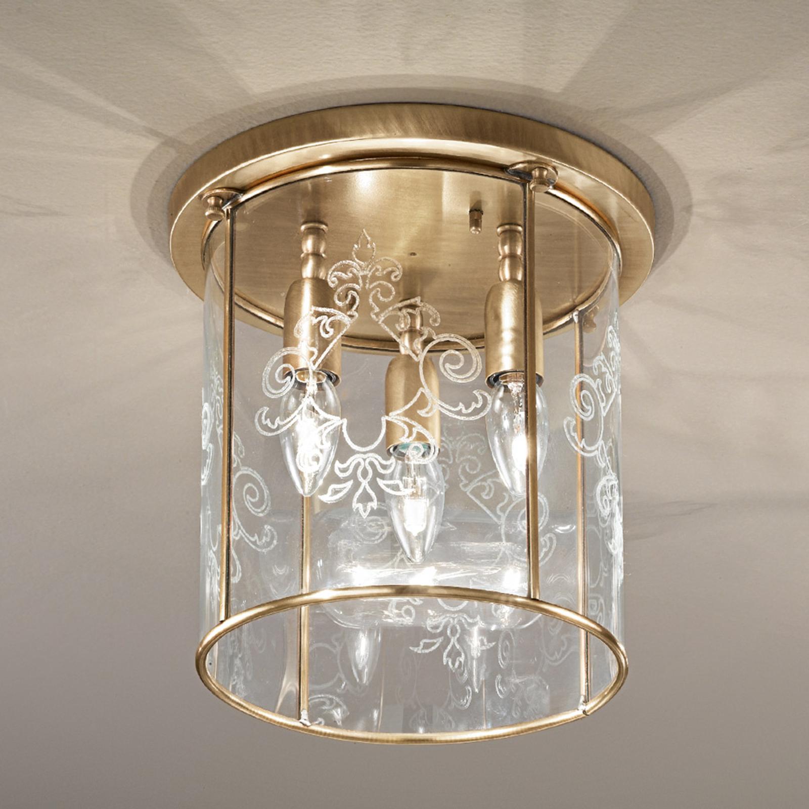 Bronserad plafondlampa Greta, 3-lågig