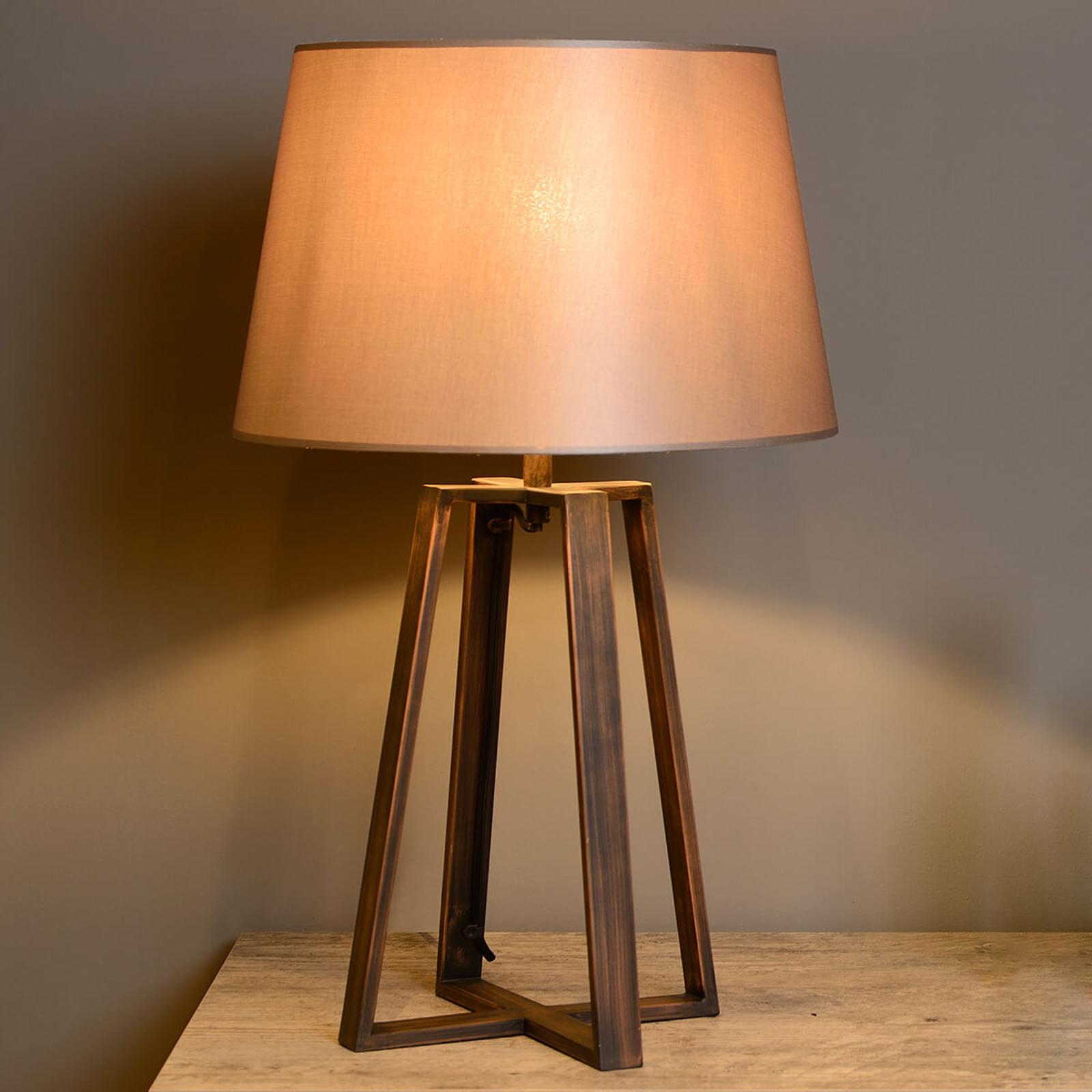 Tischleuchte Coffee Lamp mit braunem Stoffschirm