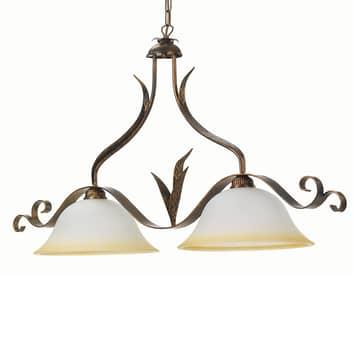 Hengelampe Biliardo med to lys, kremhvit/bronse