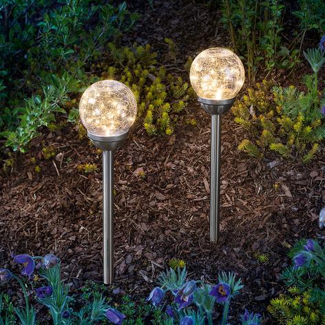 Solcellelampe Golden Dream med jordspyd i 2'er sæt
