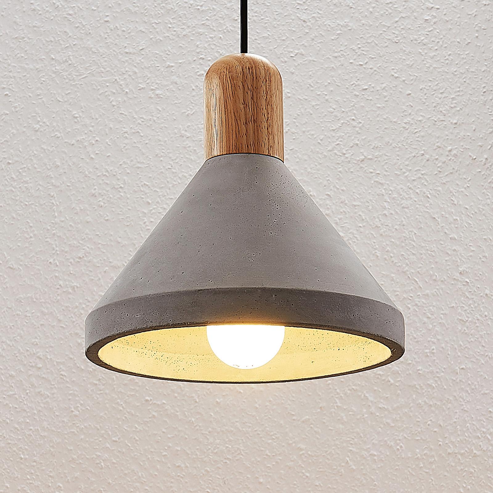 Betonnen hanglamp Caisy met hout, rond