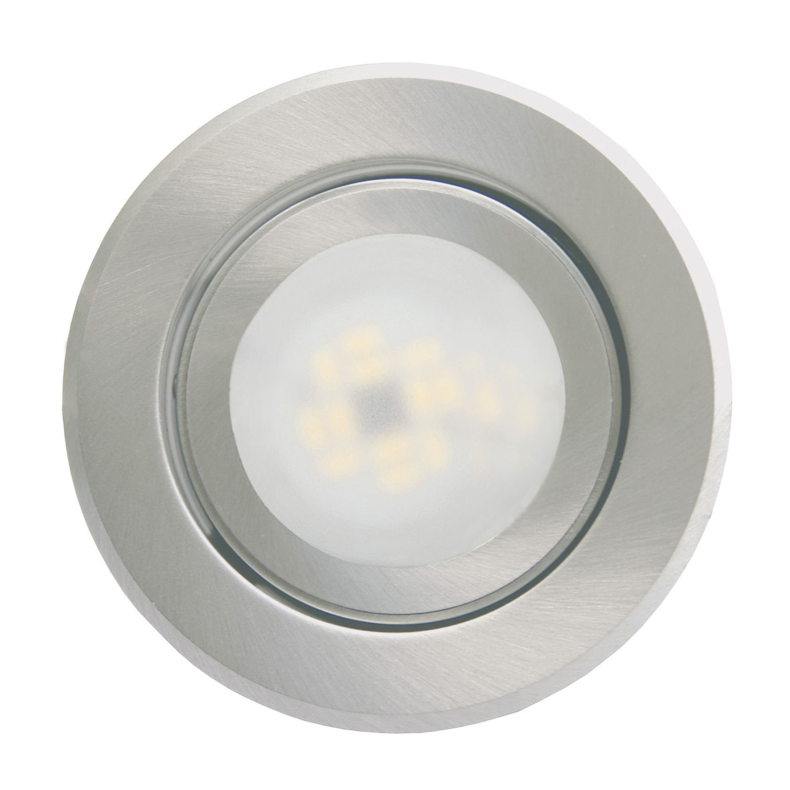 Inbyggnadslampa Joanie med LED, borstat aluminium