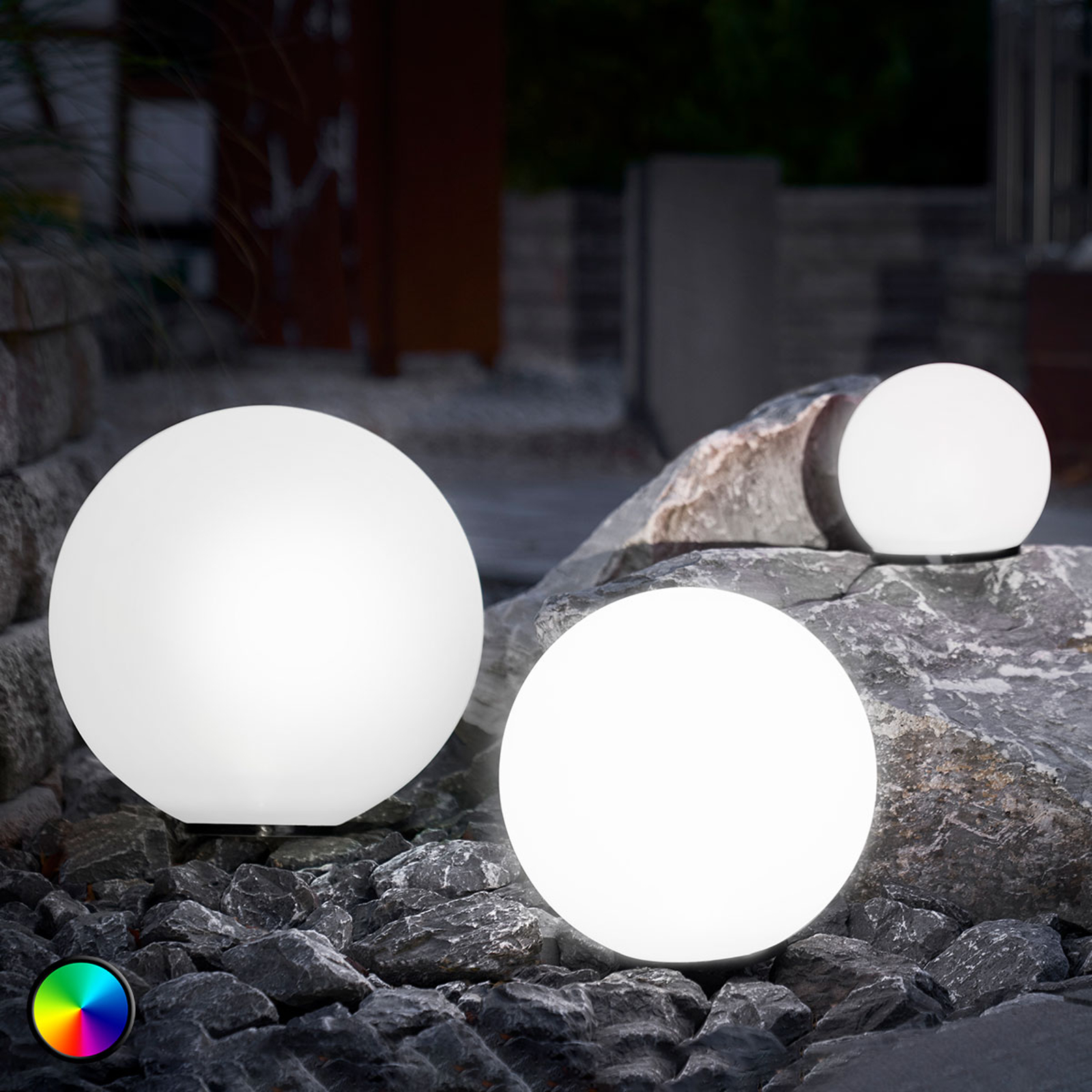 Set of 3 LED solar balls, colour change function_3012559_1