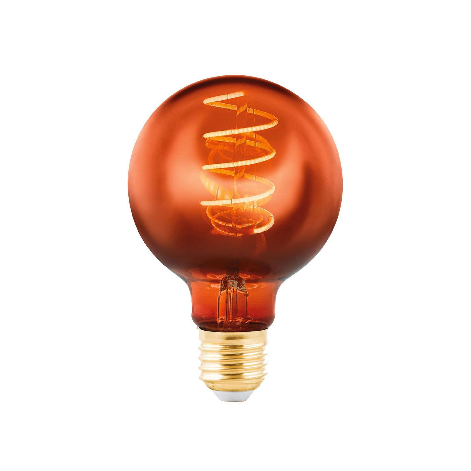 LED-globepære E27 4 W, kobber, Ø 8 cm