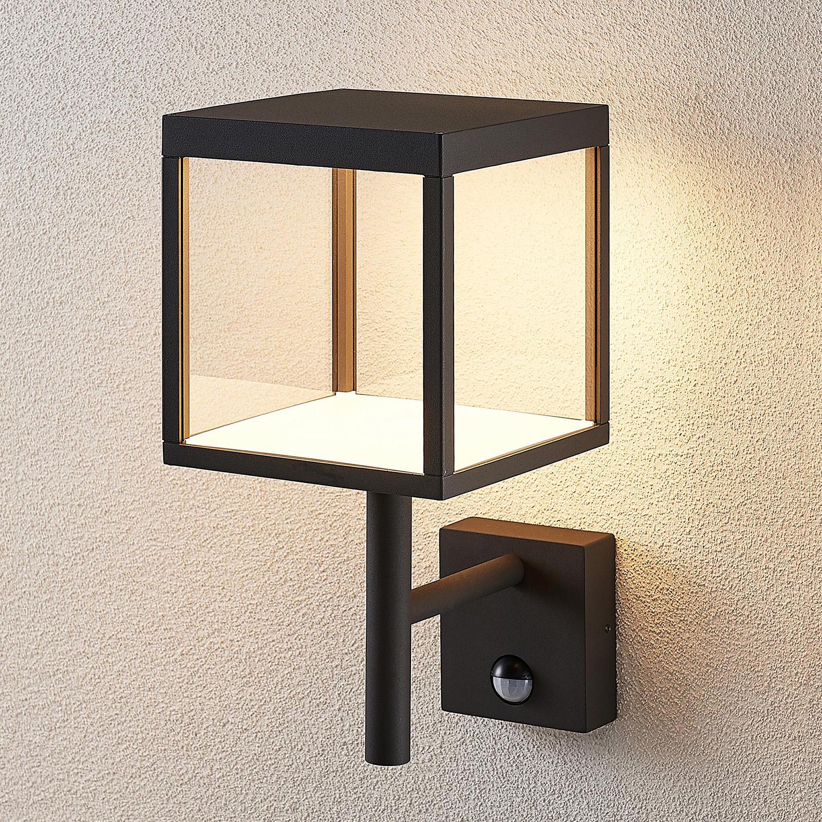 LED-Außenwandleuchte Cube, graphit, mit Sensor
