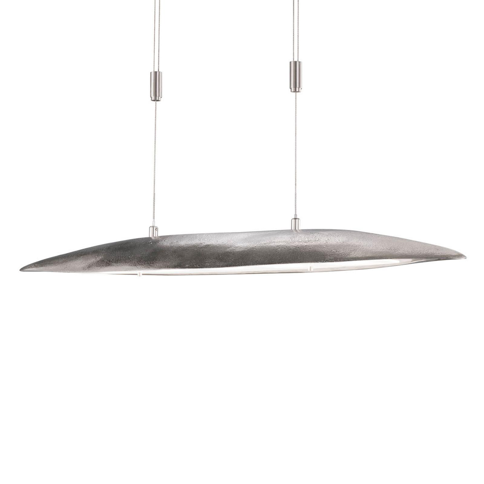 Lampada sospensione LED Colmar lunga 98 cm, nichel