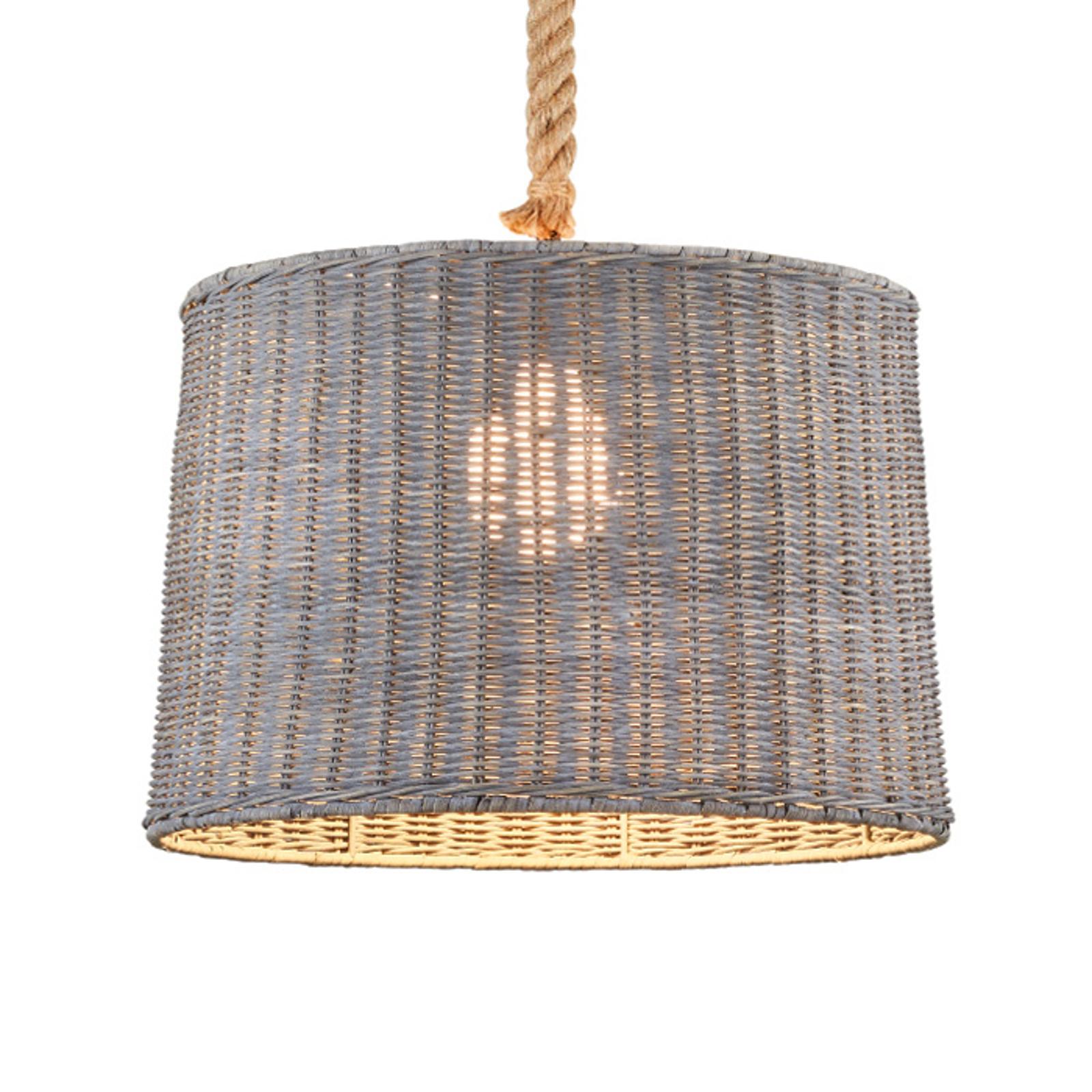 Lampa wisząca Rotin z rattanowym kloszem, 1-pkt.