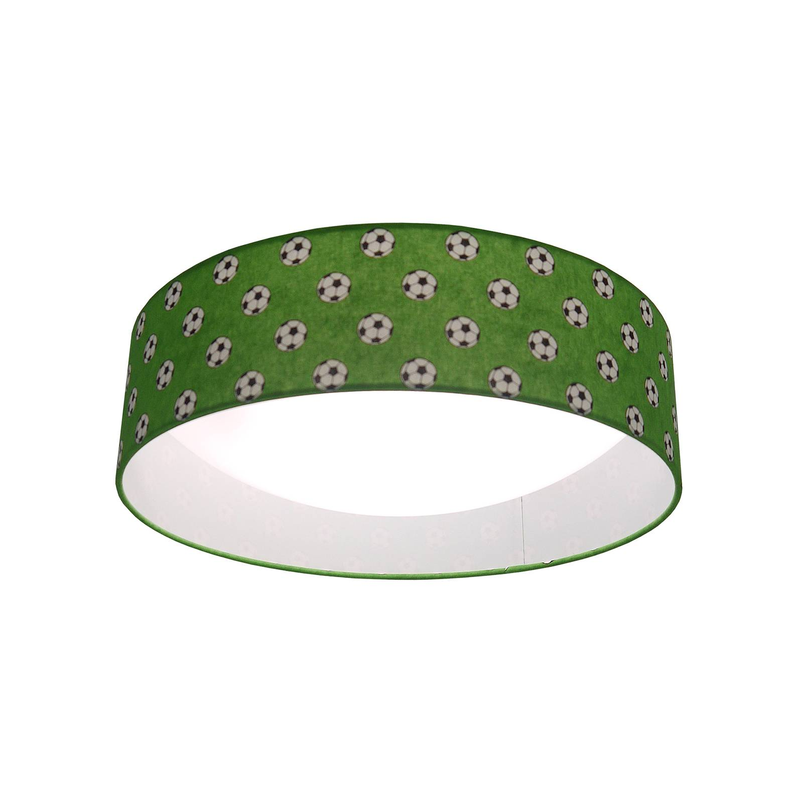 Deckenleuchte Fußball mit grünem Stoffschirm