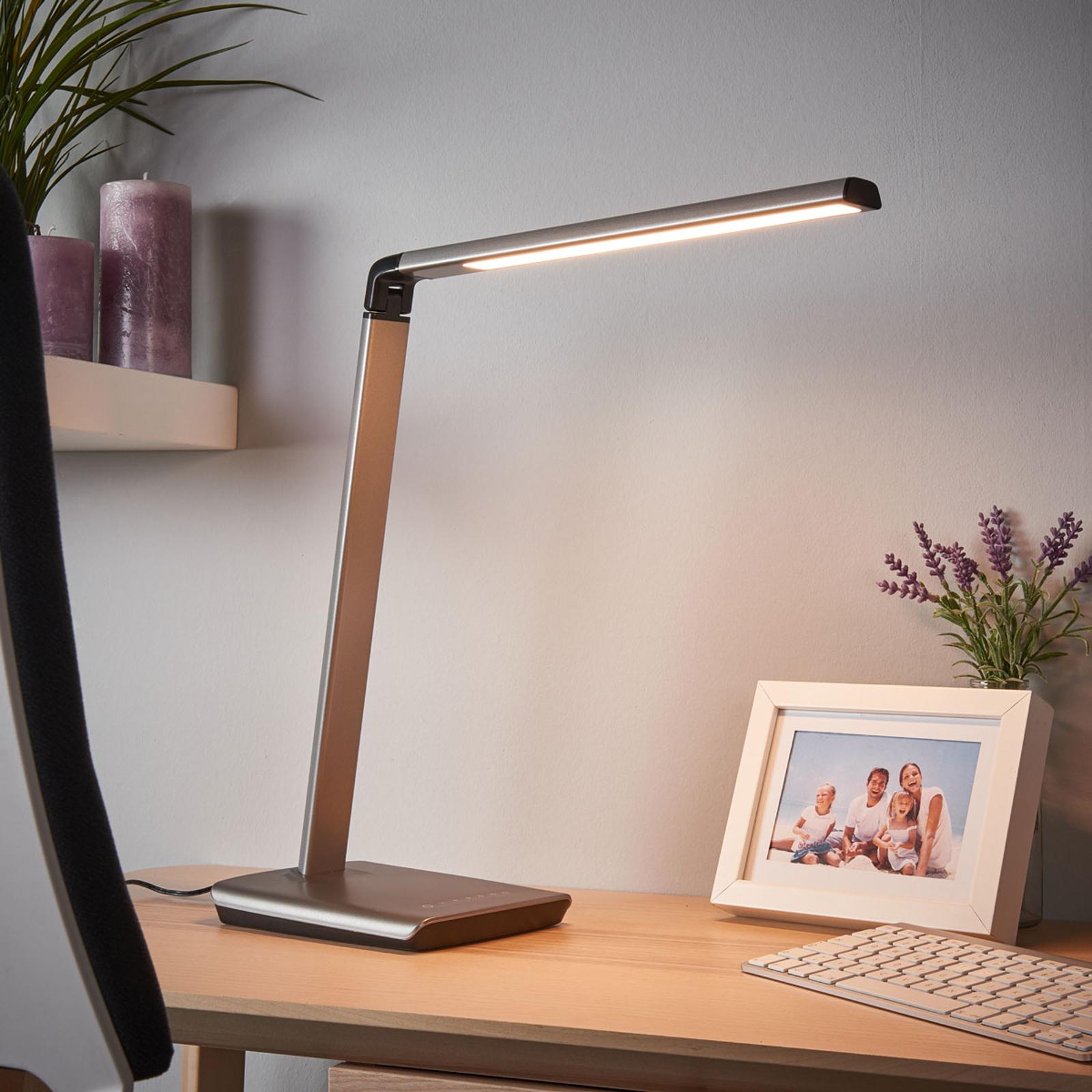 Metalická šedá LED stolní lampa Kuno, stmívač USB