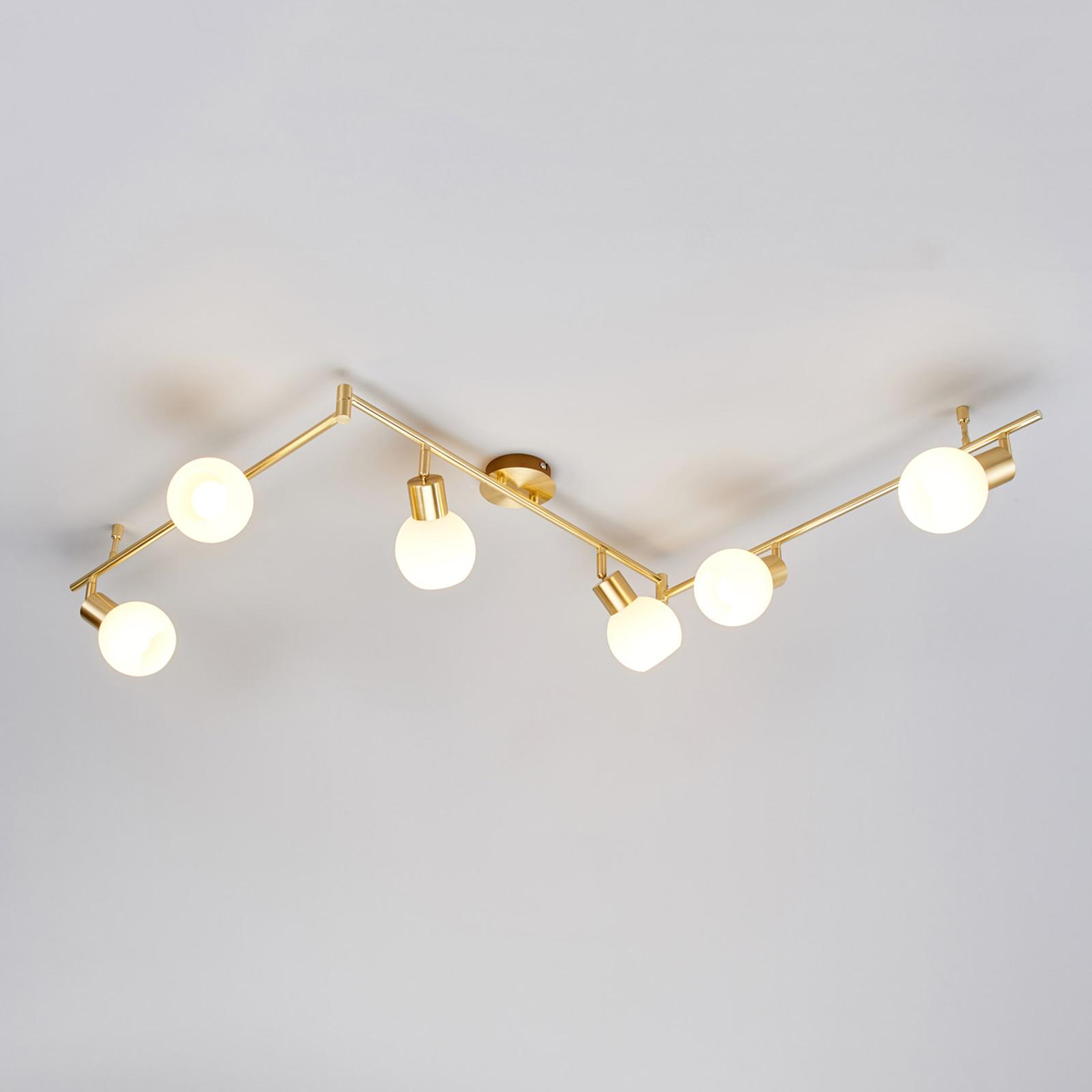 LED taklampa Elaina i mässing, 6 ljuskällor | Lamp24.se