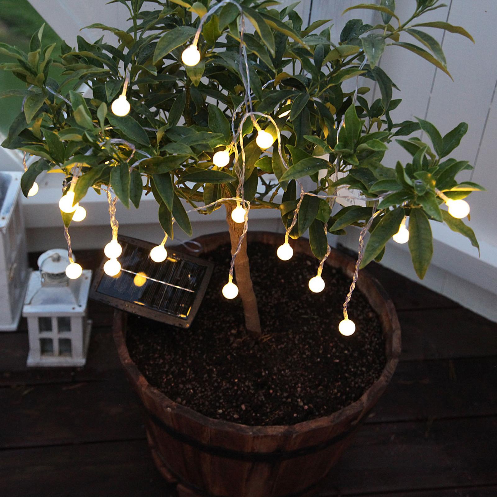 Solarny łańcuch świetlny LED kulki, ciepła biel