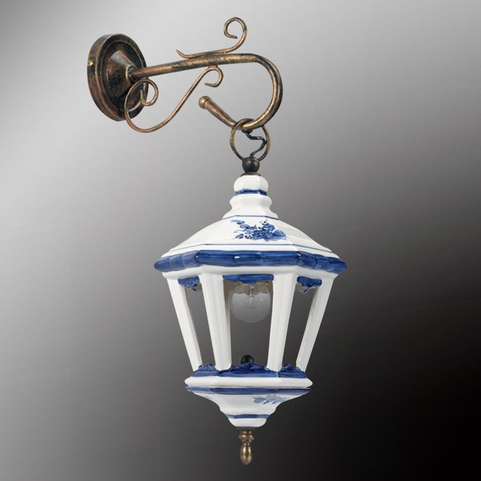 Applique Viola con lanterna di ceramica