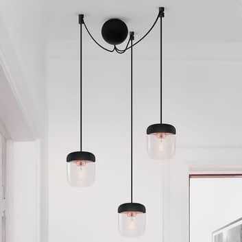 UMAGE Acorn hanglamp, zwart/koper, 3 lampen