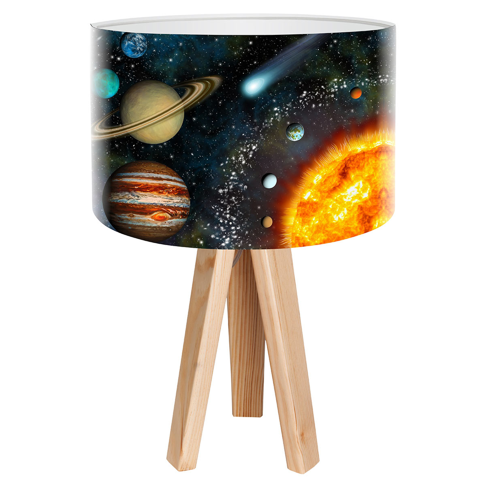 Tafellamp Space met realistische ruimtevaartprint