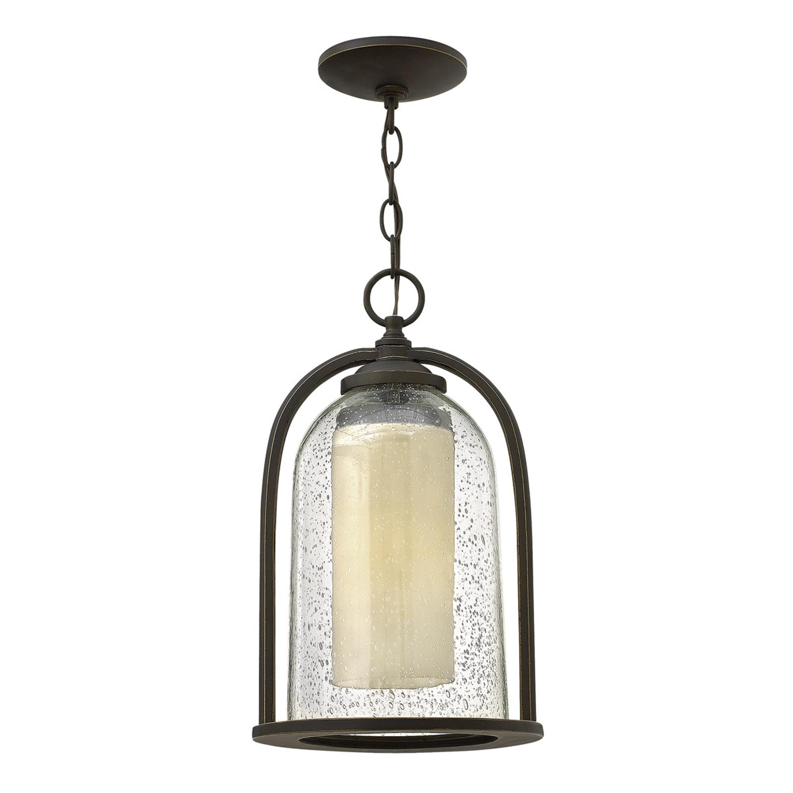 Quincy hængelampe, dobbeltskærm, til udendørs brug
