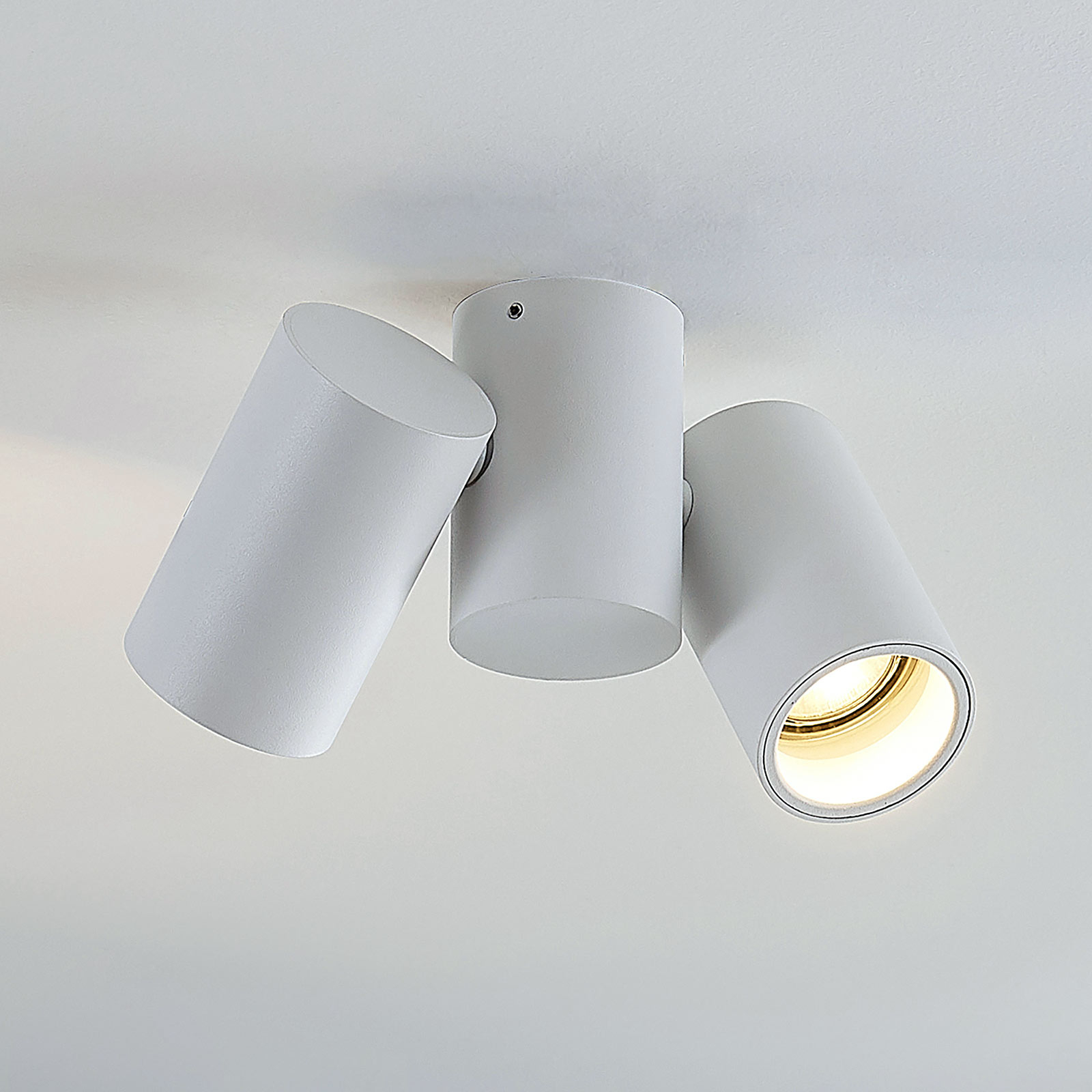 Plafondlamp Gesina, twee lampjes, wit