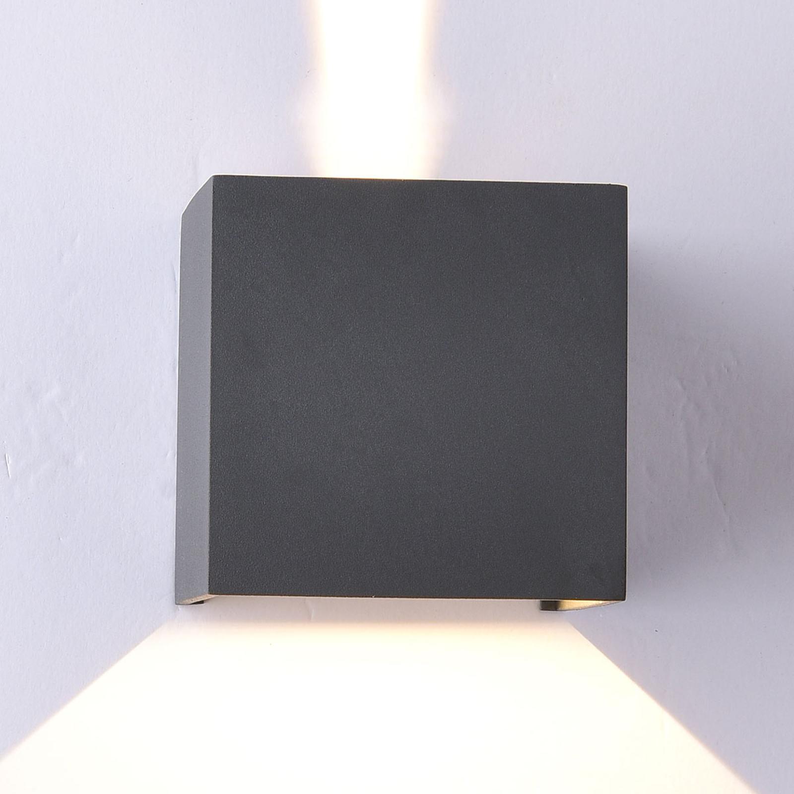 Utendørs LED-vegglampe Davos kantet, mørkegrå