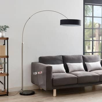 Shing tekstil-standerlampe med sort skærm