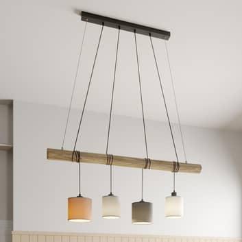 Hanglamp Sachiko, houten balk, vier stoffen kappen