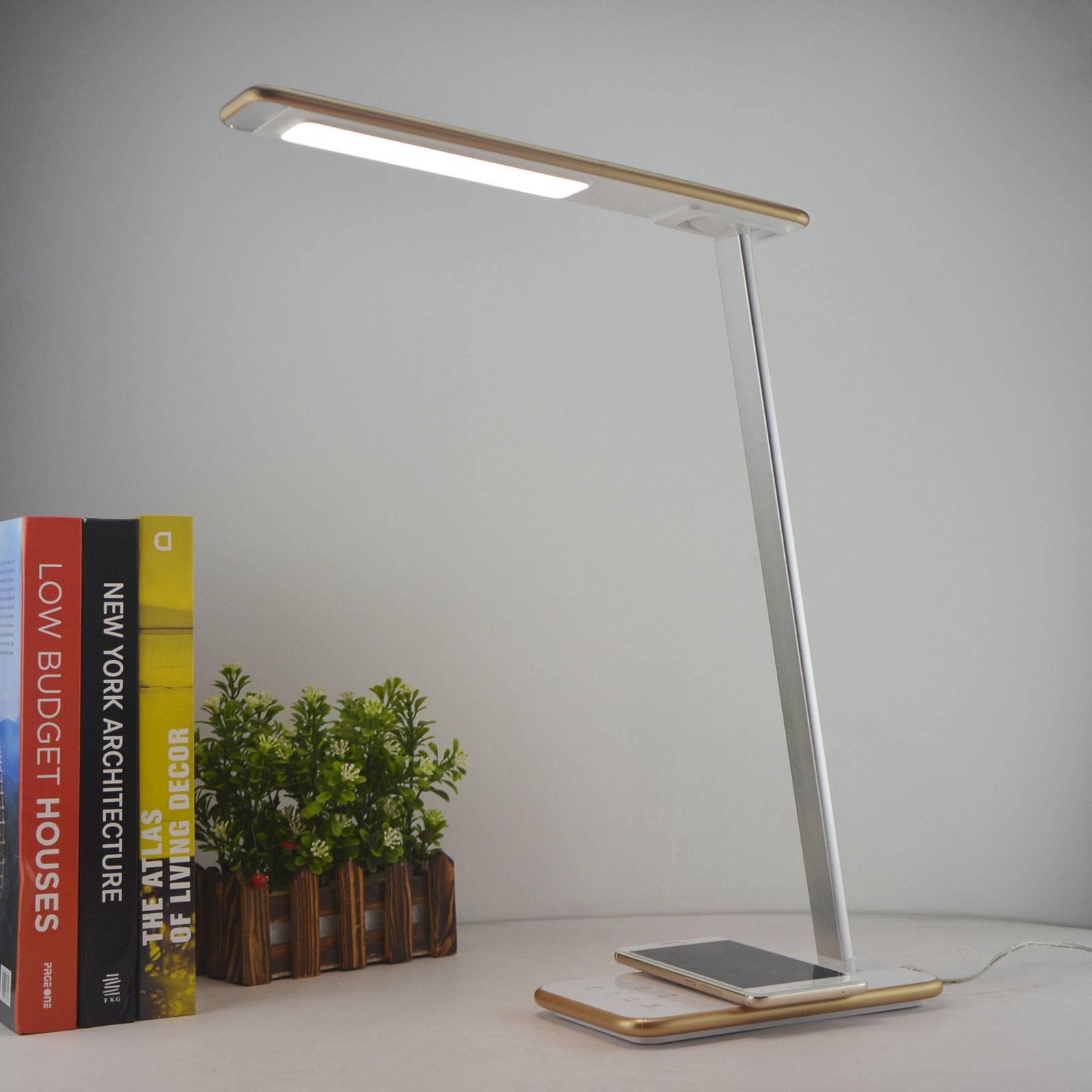 Lampe de bureau LED Orbit avec induction, dorée