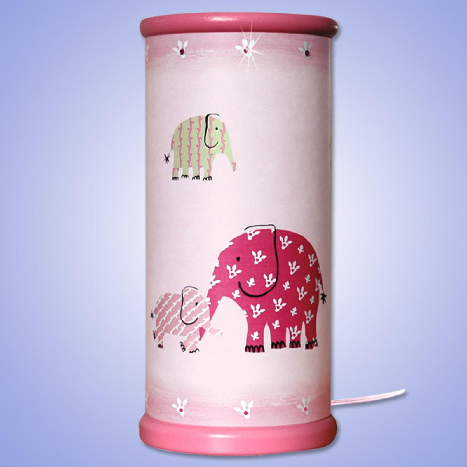 Zauberhafte LED-Tischleuchte ELEFANT, pink