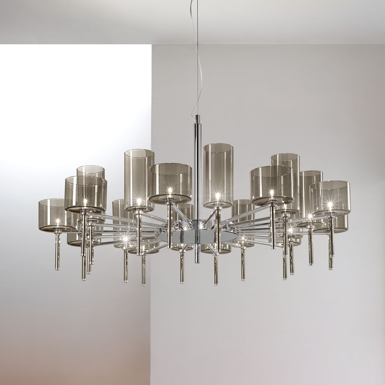Designer lysekrone Spillray m. glasskærme