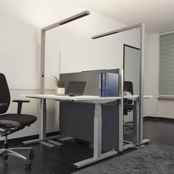 Büro-LED-Stehleuchte Jolinda mit Dimmer, silber