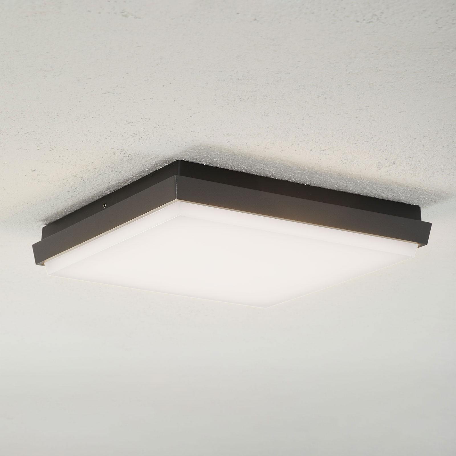 Lucande Amra LED-Außendeckenleuchte, eckig 30 cm