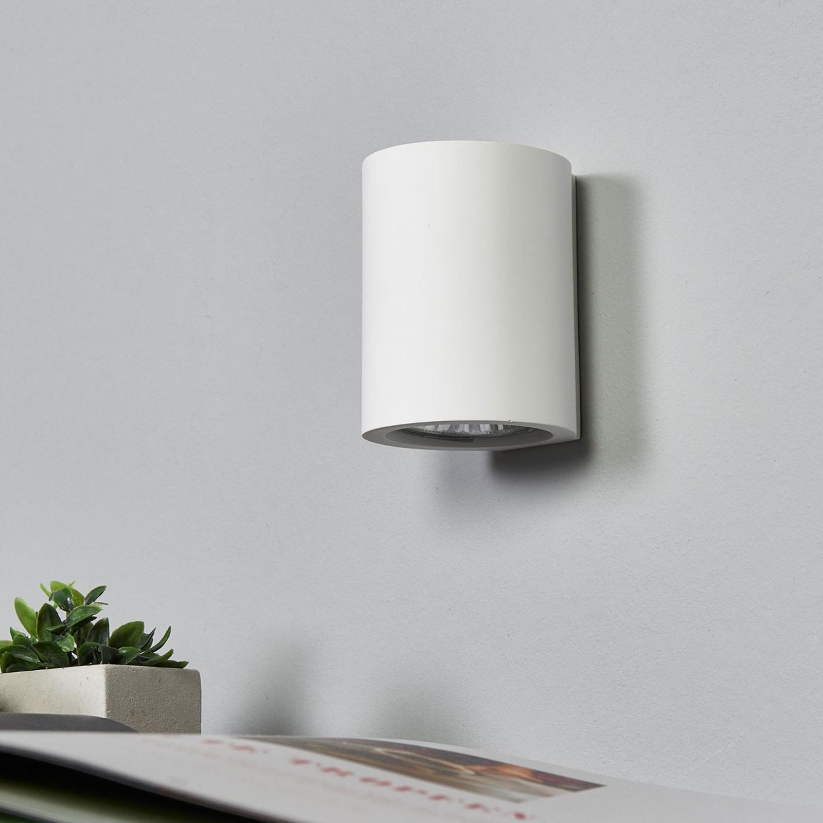 Weiße GU10-Wandlampe Miroslaw aus Gips