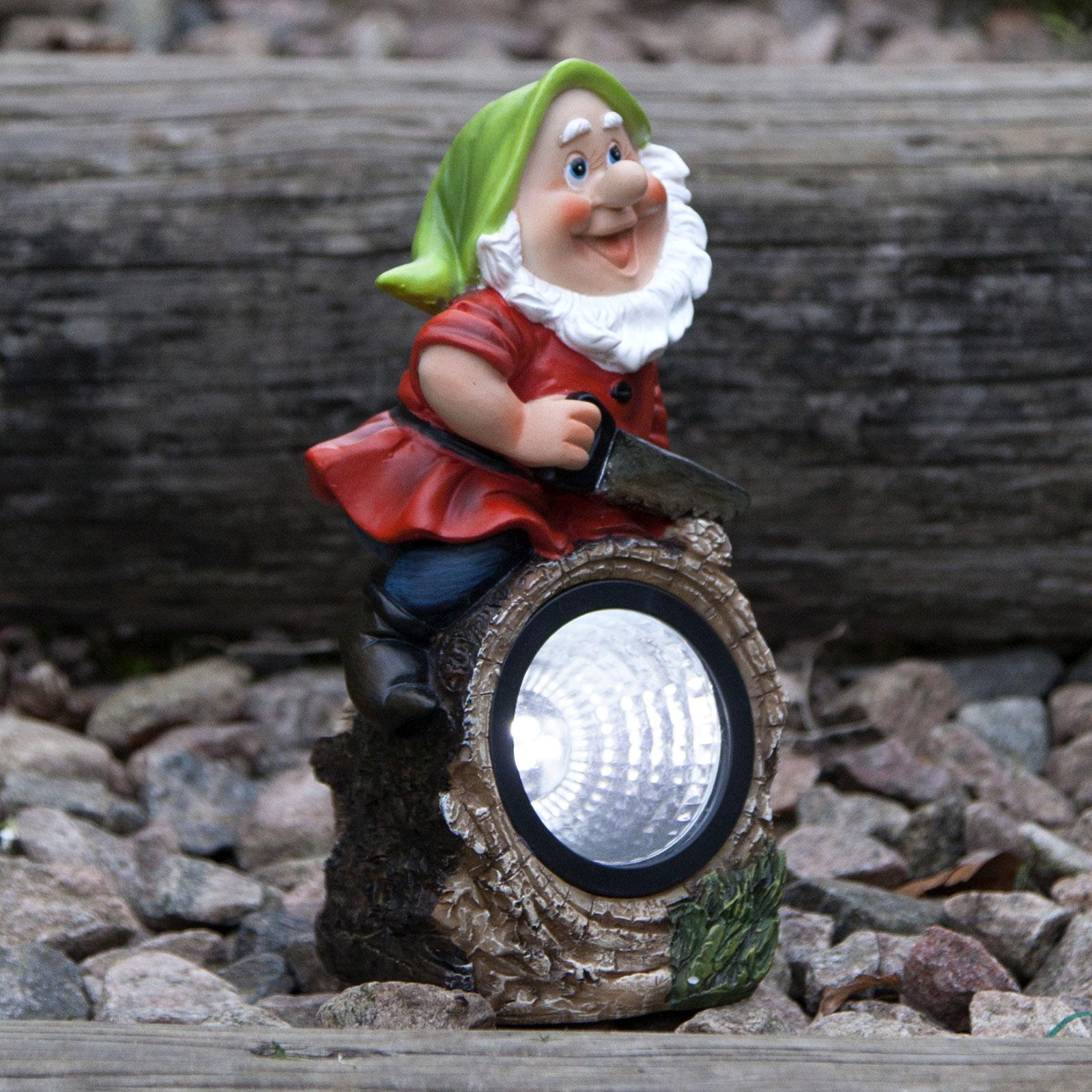 LED-solcellslampa Gnomy, skogshuggare
