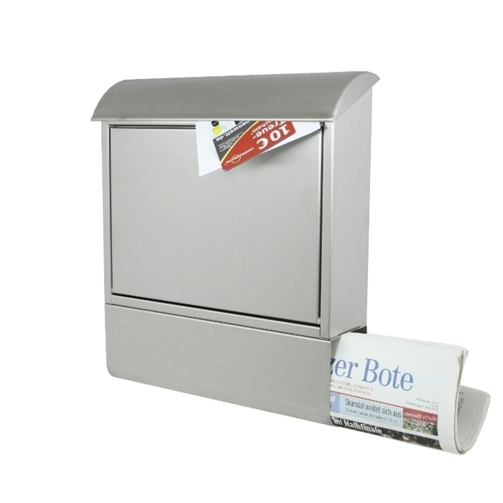 Briefkasten Edelstahl mit Zeitungsfach