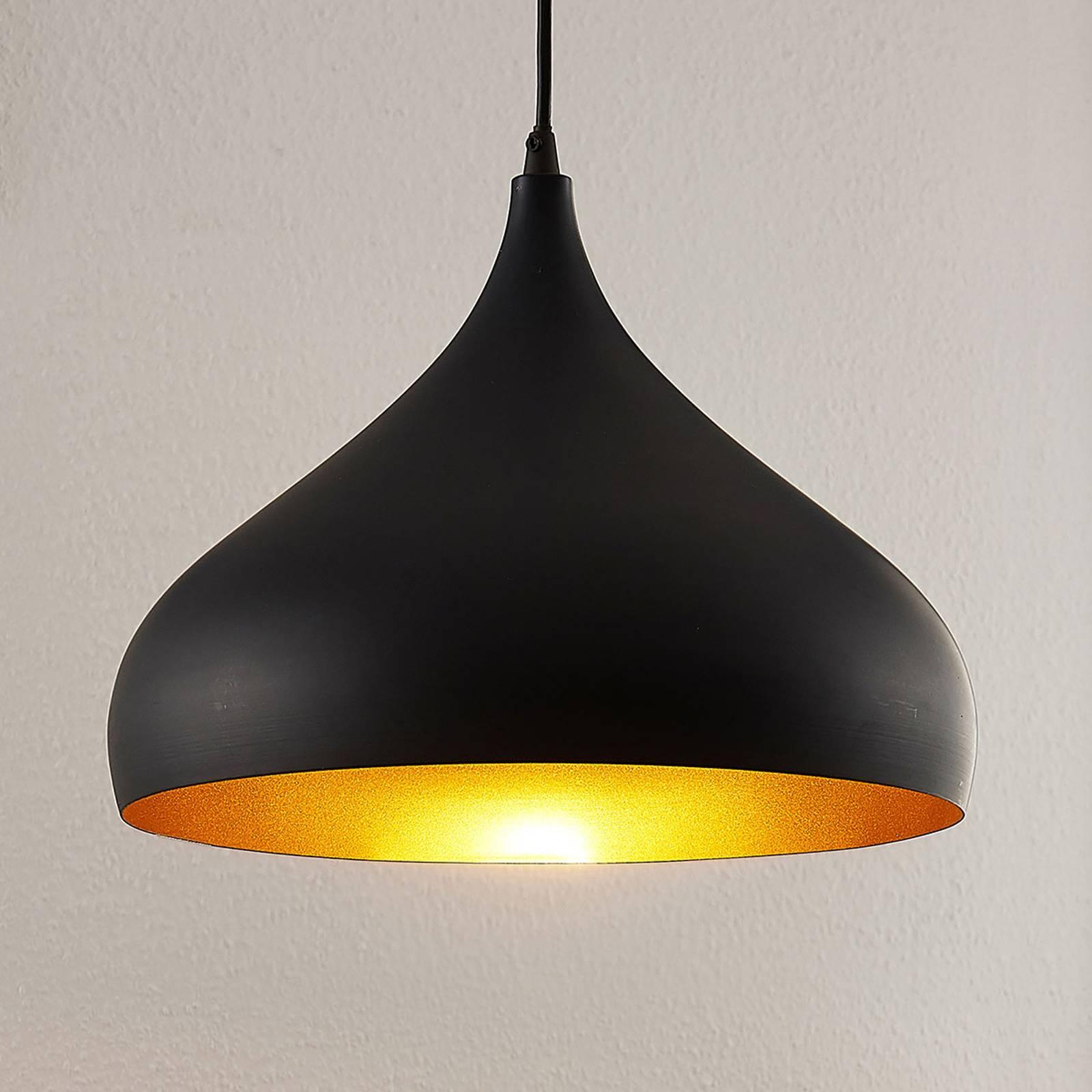 Lampa wisząca Ritana, czarno-złota